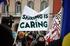 Protest gegen ACTA und Regierung Stockbilder