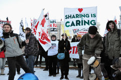 Protest gegen ACTA und Regierung Lizenzfreies Stockfoto