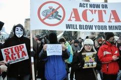 Protest gegen ACTA und Regierung Stockfotografie
