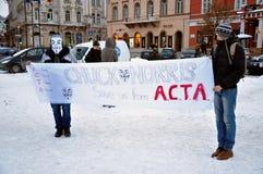Protest gegen ACTA und Regierung Lizenzfreie Stockbilder