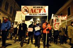 Protest gegen ACTA und Regierung Lizenzfreie Stockfotografie
