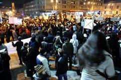 Protest gegen ACTA und Regierung Stockbild
