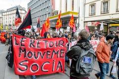 Protest gegen Arbeitsreformen in Frankreich Stockfotografie