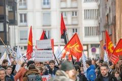Protest gegen Arbeitsreformen in Frankreich Stockbild
