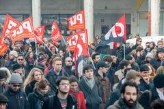 Protest gegen Arbeitsreformen in Frankreich Stockfotos