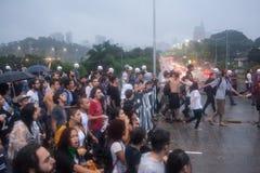 Protest gegen den Aufstieg des Fahrpreises Stockbild