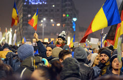 Protest gegen die Regierung in Bukarest Stockfoto