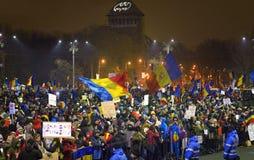 Protest gegen die Regierung in Bukarest Lizenzfreie Stockbilder