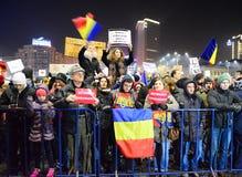 Protest gegen die Regierung in Bukarest Lizenzfreies Stockfoto