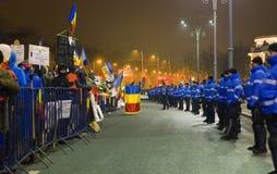 Protest gegen die Regierung in Bukarest Stockfotos