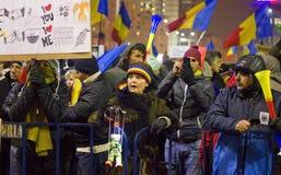 Protest gegen die Regierung in Bukarest Lizenzfreie Stockfotografie