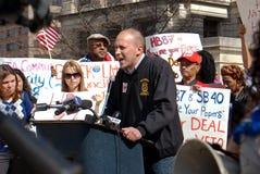Protest gegen Immigrationrechnung am GA-Kapitol Stockbilder