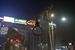 Protest gegen Korruptionsreformen in Bukarest stockfoto