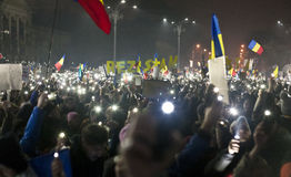 Protest gegen Korruptionsreformen in Bukarest Lizenzfreies Stockbild