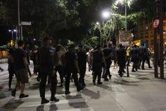 Protest gegen Michel Temer verliert Kraft in Rio de Janeiro Stockfotos
