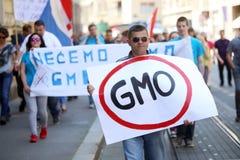 Protest gegen Monsanto, Zagreb, Kroatien Stockbild