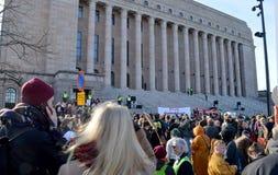Protest gegen Regierungsuntätigkeit auf Klimawandel, Helsinki, Finnland stockfoto