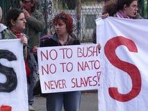 Protest gegen US-Politik Stockfotografie
