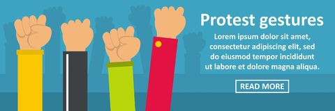 Protest gestures banner horizontal concept Stock Photography