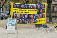 The protest by Greenpeace activists in Berlin Stock Photos