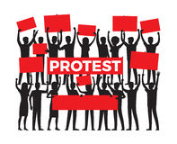 Protest by Group of Protester Silhouette on White Stock Image