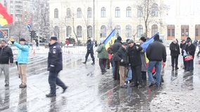 Protest - group of revolutionaries in Bucharest stock video