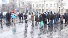 Protest - group of revolutionaries in Bucharest stock footage