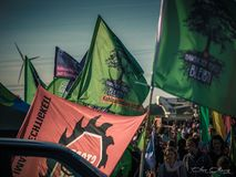 Protest Hambacher Forst- Kerpen Buir, Duitsland 06 Oktober 2018 stock foto's
