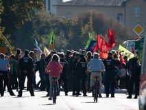 Protest Hambacher Forst- Kerpen Buir, Germany 06. Oktober 2018. Against coal and against deforestation the ancient forest royalty free stock image