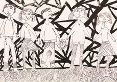 Protest. Hand drawn ink illustration of group of hippies protesting Royalty Free Stock Image
