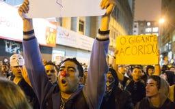 Protest i Brasilien Arkivfoton
