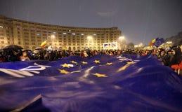 PROTEST I BUCHAREST MOT KORRUPTION Royaltyfria Foton