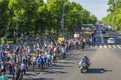 Protest i Bucharest mot olagligt logga royaltyfria foton