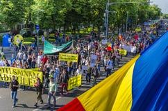 Protest i Bucharest mot olagligt logga royaltyfri fotografi