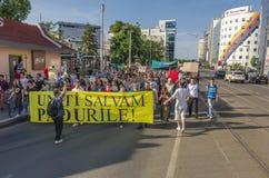Protest i Bucharest mot olagligt logga fotografering för bildbyråer