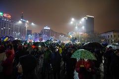 Protest i Bucharest, Rumänien Arkivbilder