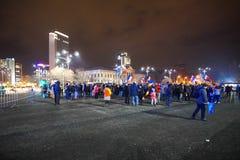 Protest i Bucharest, Rumänien Arkivfoto