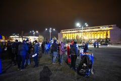 Protest i Bucharest, Rumänien Royaltyfri Foto