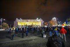 Protest i Bucharest, Rumänien Arkivbild
