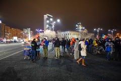 Protest i Bucharest, Rumänien fotografering för bildbyråer