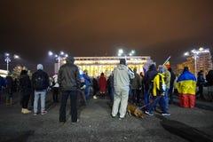 Protest i Bucharest, Rumänien royaltyfria bilder
