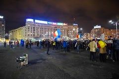 Protest i Bucharest, Rumänien Royaltyfri Fotografi