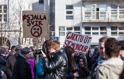 Protest i Reykjavik Island Arkivbilder