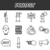 Protest icon set Royalty Free Stock Image