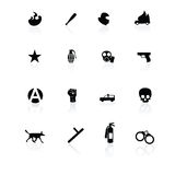 Protest icons black on white. With reflection Royalty Free Stock Images