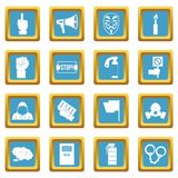Protest icons azure. Protest icons set in azur color isolated vector illustration for web and any design Stock Photos