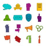 Protest icons doodle set. Protest icons set. Doodle illustration of vector icons isolated on white background for any web design Stock Image