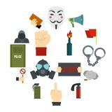 Protest icons set in flat style. Isolated vector illustration Stock Images
