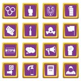 Protest icons set purple. Protest icons set in purple color isolated vector illustration for web and any design Stock Photography