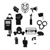 Protest icons set, simple style. Protest icons set. Simple illustration of 16 protest vector icons for web Royalty Free Stock Photos